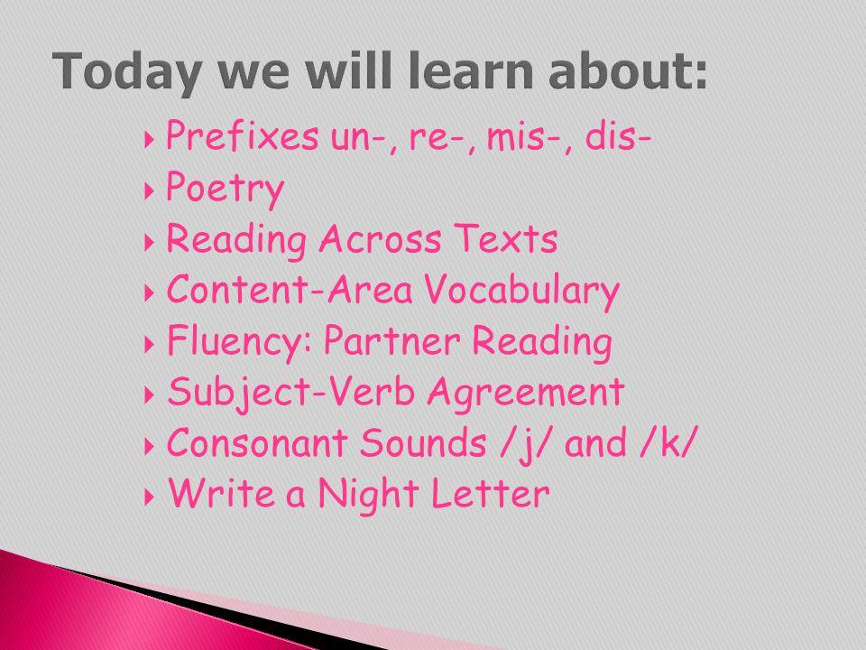  Prefixes un-, re-, mis-, dis-  Poetry  Reading Across Texts  Content-Area Vocabulary  Fluency: Partner Reading  Subject-Verb Agreement  Conson