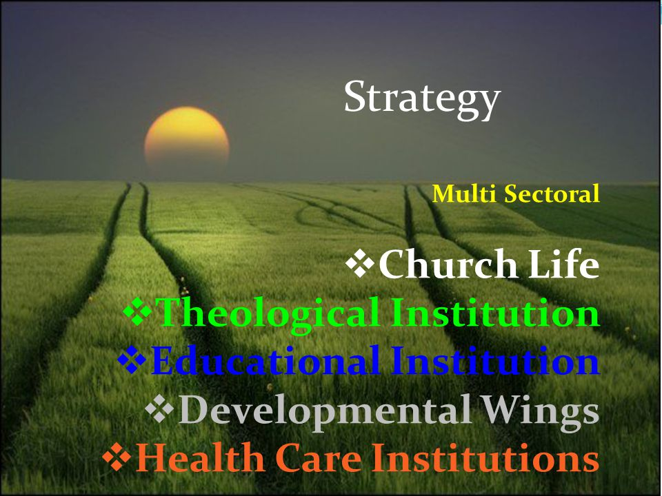 Strategy Multi Sectoral  Church Life  Theological Institution  Educational Institution  Developmental Wings  Health Care Institutions