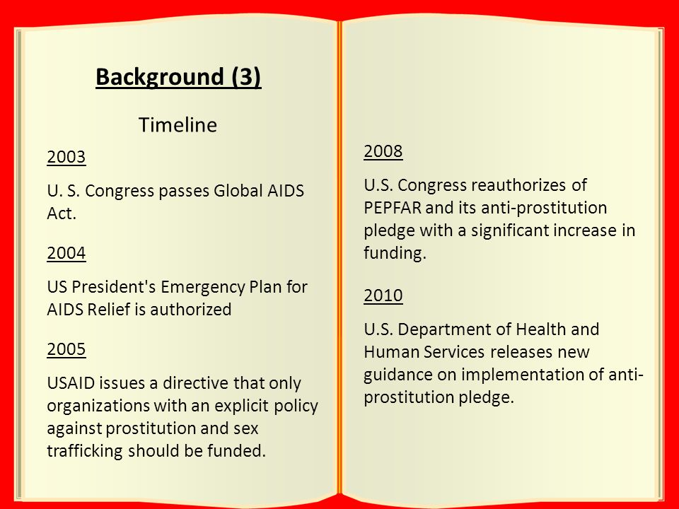 Background (3) Timeline 2003 U. S. Congress passes Global AIDS Act.
