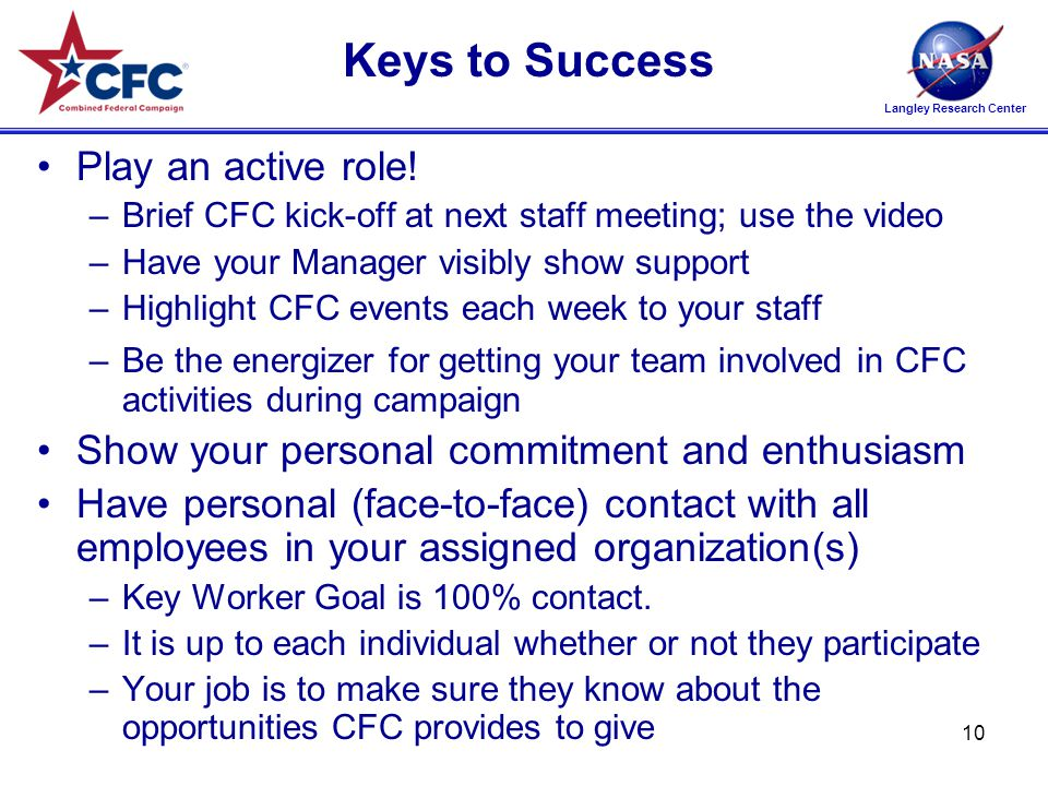 Langley Research Center Keys to Success Play an active role.
