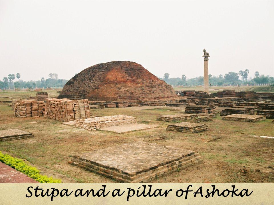 Stupa and a pillar of Ashoka