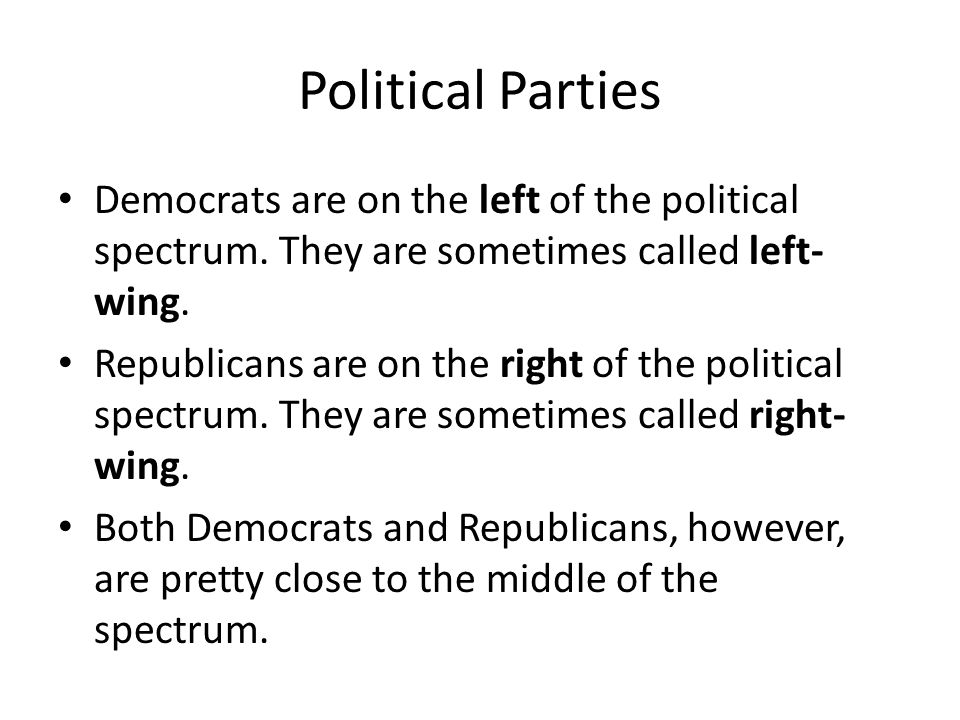 Political Parties Democrats are on the left of the political spectrum. They are sometimes called left- wing. Republicans are on the right of the polit