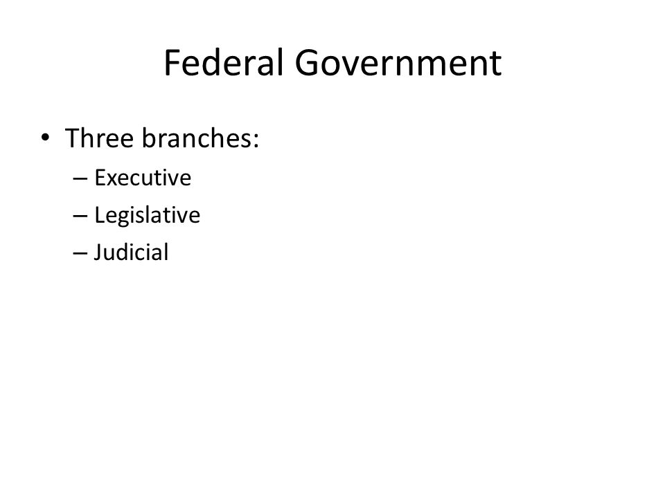 Federal Government Three branches: – Executive: enforces the laws – Legislative: makes the laws – Judicial: interprets the laws (says, Do they fit with the Constitution or not? )