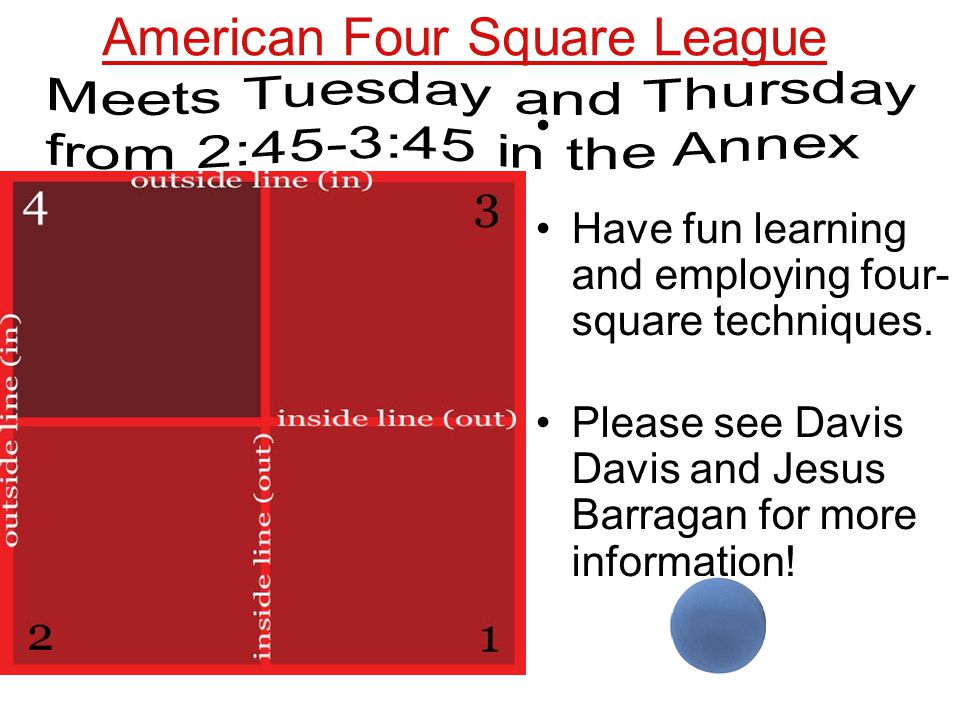 American Four Square League Have fun learning and employing four- square techniques.