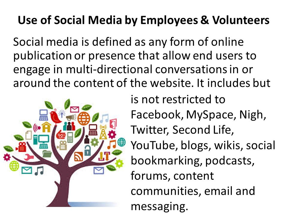 Use of Social Media by Employees & Volunteers is not restricted to Facebook, MySpace, Nigh, Twitter, Second Life, YouTube, blogs, wikis, social bookmarking, podcasts, forums, content communities, email and messaging.