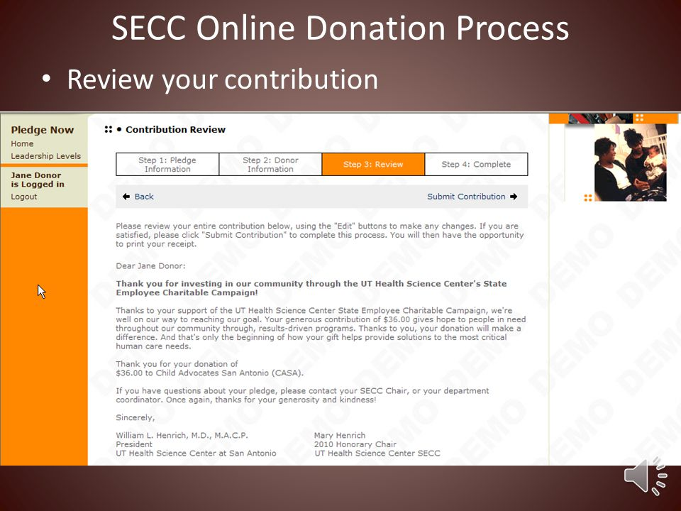 Select acknowledgement type SECC Online Donation Process