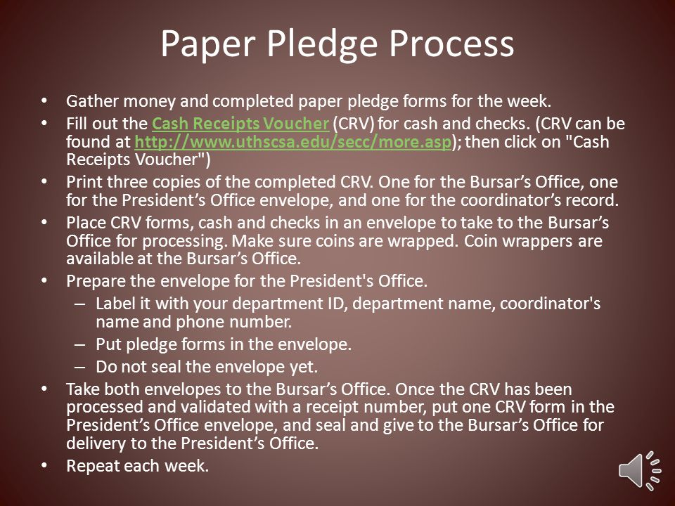 Paper Pledge Donation Process If an employee wants to donate via cash or check, they must fill out the Paper Pledge Form.