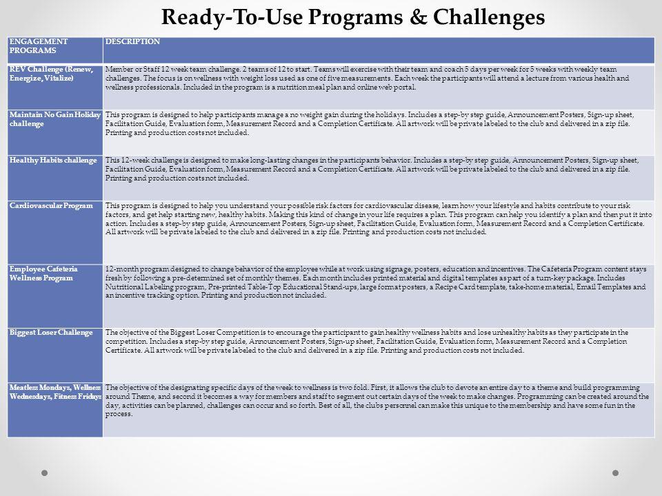 ENGAGEMENT PROGRAMS DESCRIPTION REV Challenge (Renew, Energize, Vitalize) Member or Staff 12 week team challenge.