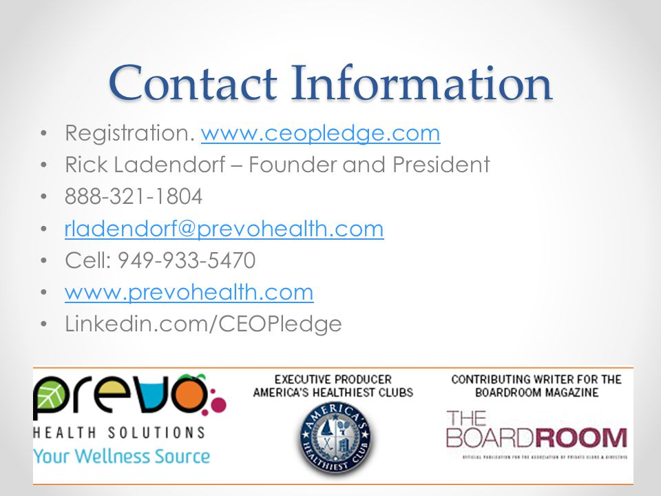 Contact Information Registration.