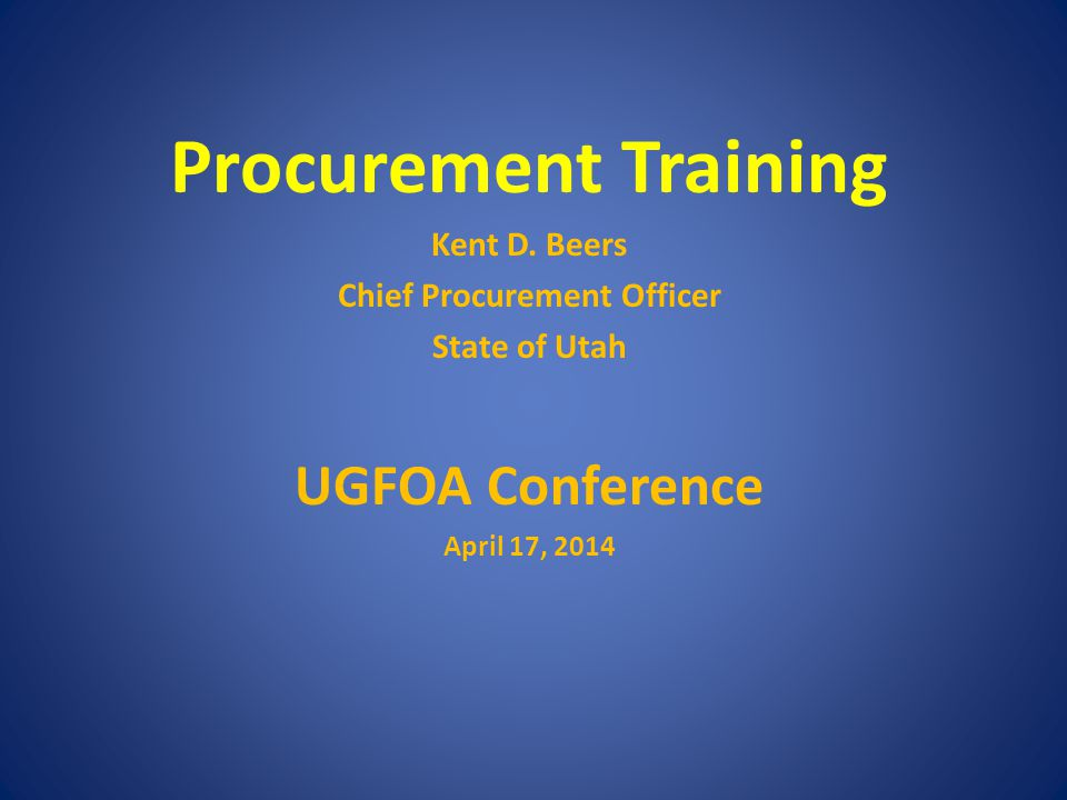 Procurement Training Kent D.