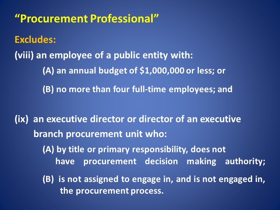 Contract Administration Professional Means an individual who is: (A) directly under contract with a procurement unit; or (B) employed by a person under contract with a procurement unit; Means an individual who has responsibility in: (A) developing a solicitation or grant, or conducting the procurement process; or (B) supervising or overseeing the administration or management of a contract or grant; and (c) Is NOT an employee of the procurement unit.