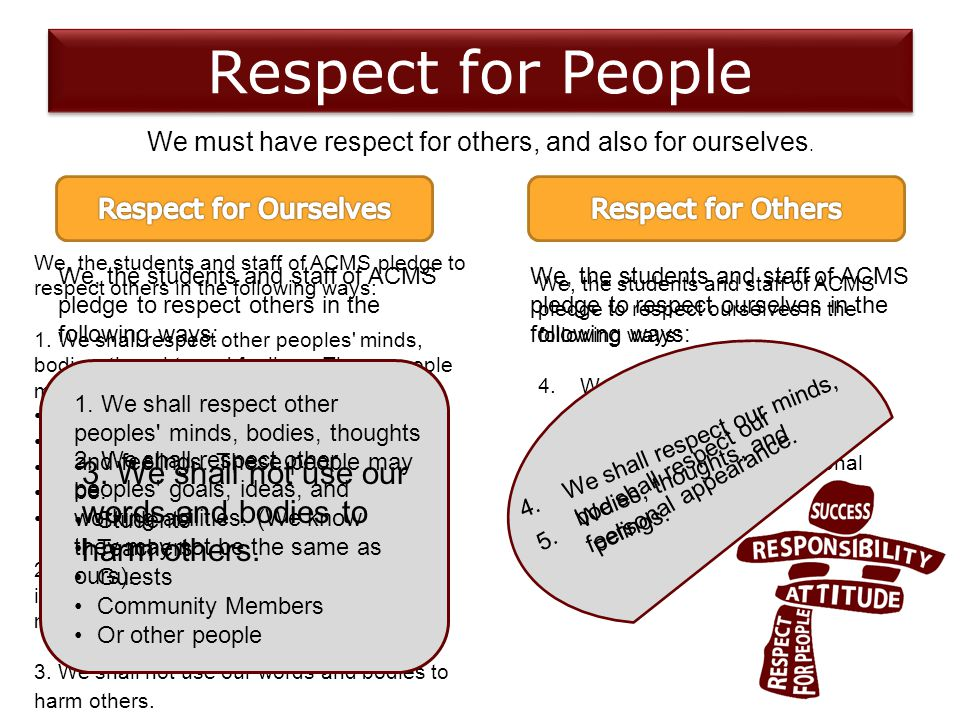 Respect for People We must have respect for others, and also for ourselves.