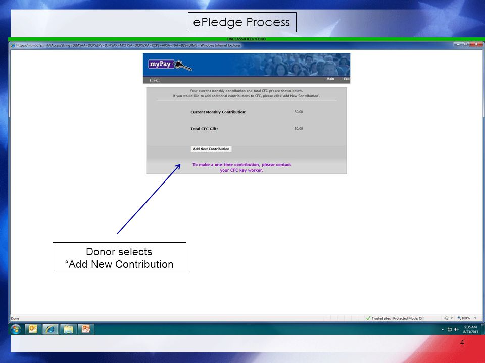 4 Donor selects Add New Contribution ePledge Process