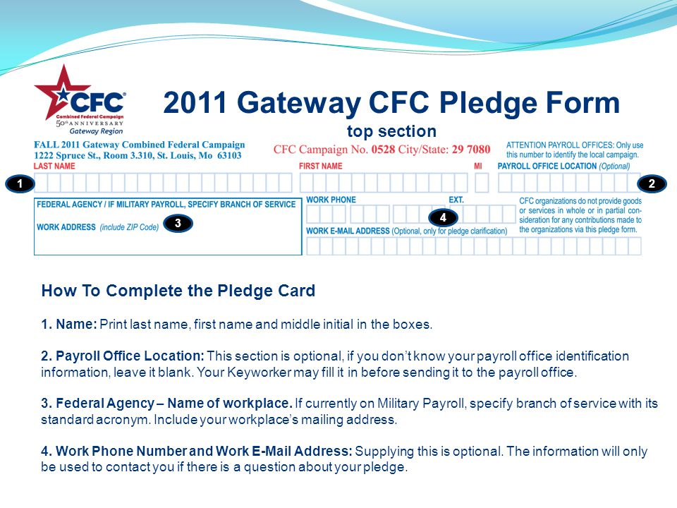 2011 Gateway CFC Pledge Form top section 12 3 4 How To Complete the Pledge Card 1.