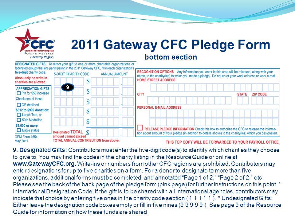 2011 Gateway CFC Pledge Form bottom section 9.