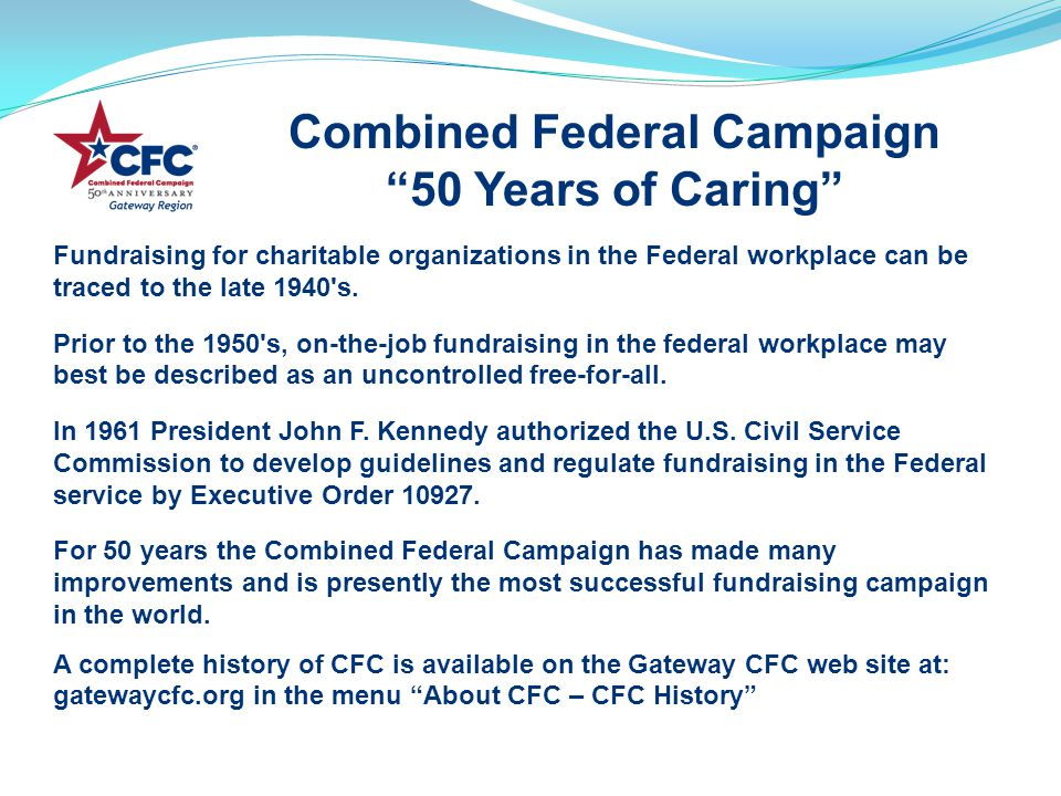 Fundraising for charitable organizations in the Federal workplace can be traced to the late 1940 s.
