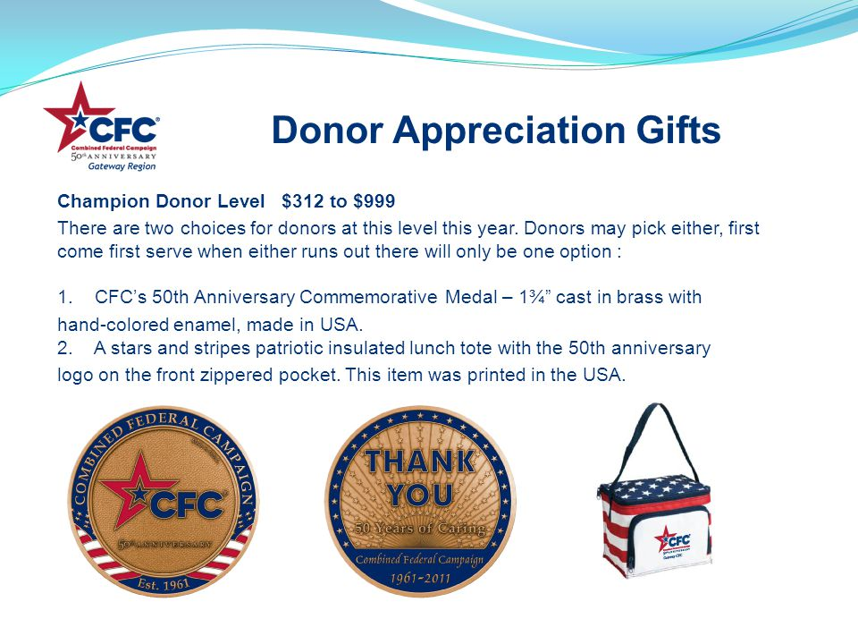 Champion Donor Level $312 to $999 There are two choices for donors at this level this year.