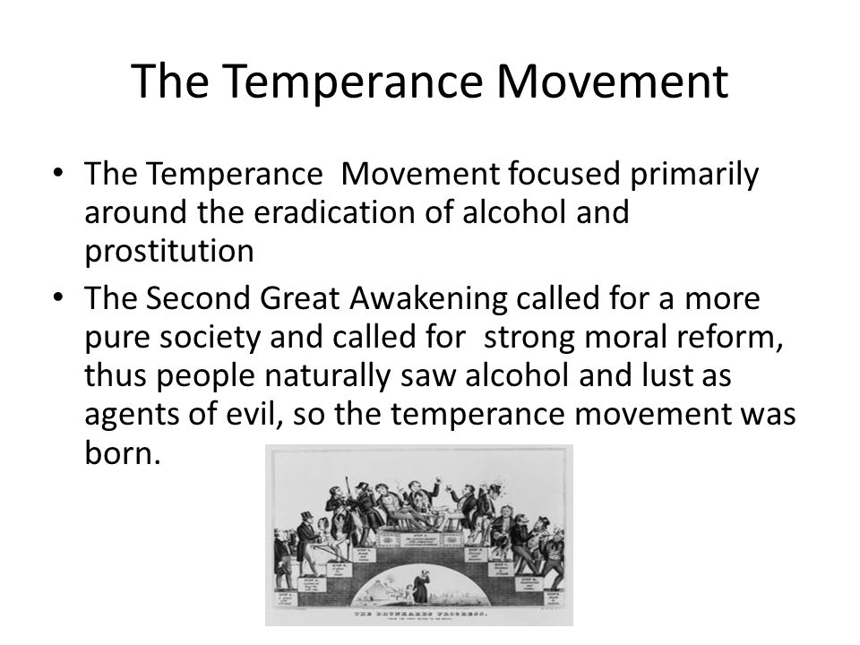 The Temperance Movement The Temperance Movement focused primarily around the eradication of alcohol and prostitution The Second Great Awakening called for a more pure society and called for strong moral reform, thus people naturally saw alcohol and lust as agents of evil, so the temperance movement was born.