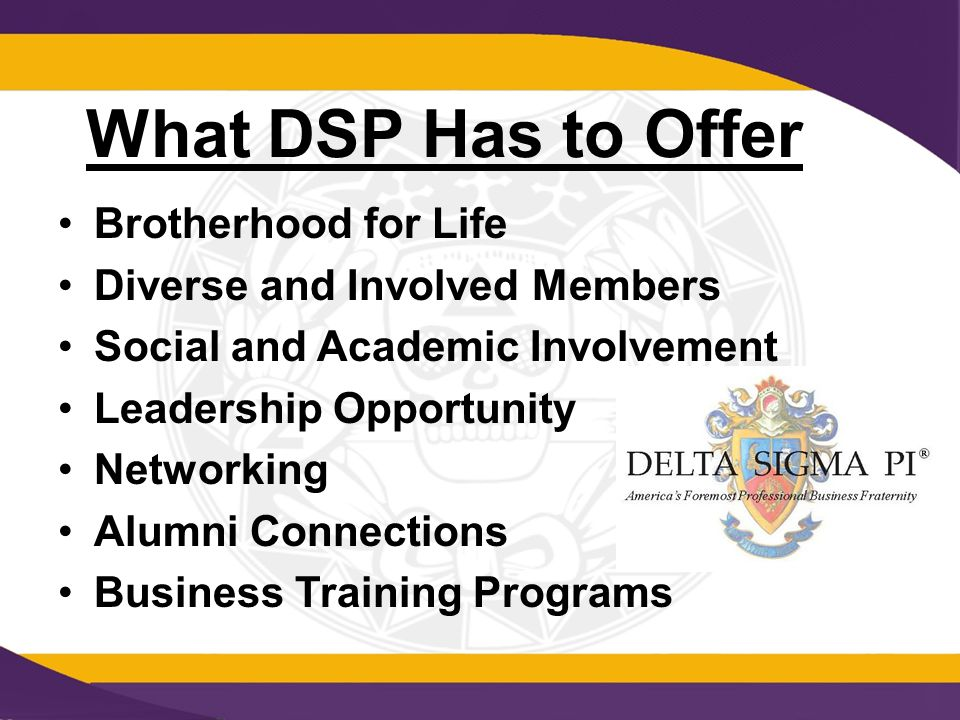 What DSP Has to Offer Brotherhood for Life Diverse and Involved Members Social and Academic Involvement Leadership Opportunity Networking Alumni Connections Business Training Programs