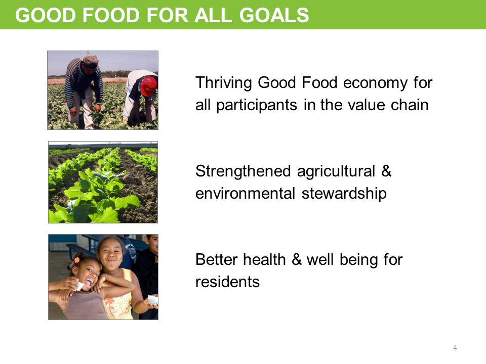 GOOD FOOD FOR ALL GOALS Thriving Good Food economy for all participants in the value chain Strengthened agricultural & environmental stewardship Better health & well being for residents 4