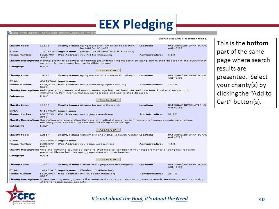 It's not about the Goal, it's about the Need EEX Pledging 40 This is the bottom part of the same page where search results are presented.