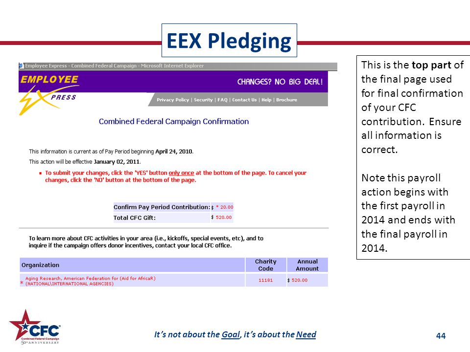 It's not about the Goal, it's about the Need EEX Pledging 44 This is the top part of the final page used for final confirmation of your CFC contribution.