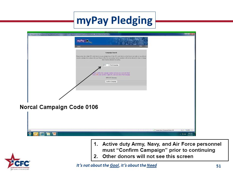 It's not about the Goal, it's about the Need 1.Active duty Army, Navy, and Air Force personnel must Confirm Campaign prior to continuing 2.Other donors will not see this screen Norcal Campaign Code 0106 myPay Pledging 51