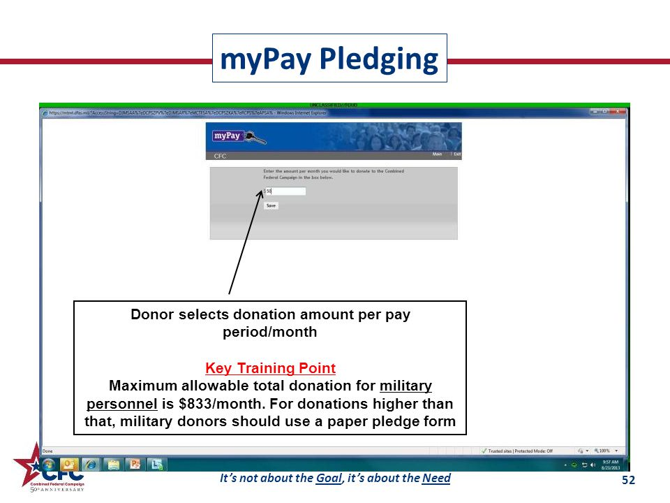It's not about the Goal, it's about the Need Donor selects donation amount per pay period/month Key Training Point Maximum allowable total donation for military personnel is $833/month.