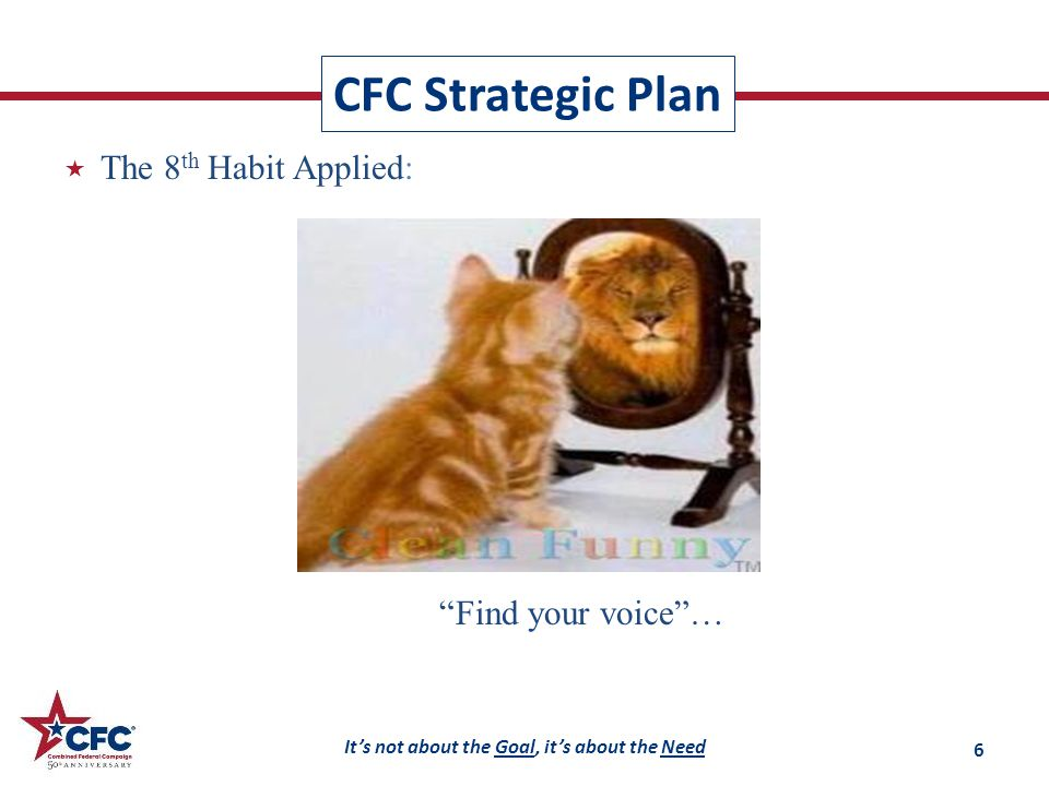 It's not about the Goal, it's about the Need  The 8 th Habit Applied: CFC Strategic Plan Find your voice … 6