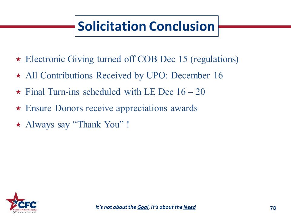 It's not about the Goal, it's about the Need Solicitation Conclusion  Electronic Giving turned off COB Dec 15 (regulations)  All Contributions Received by UPO: December 16  Final Turn-ins scheduled with LE Dec 16 – 20  Ensure Donors receive appreciations awards  Always say Thank You .