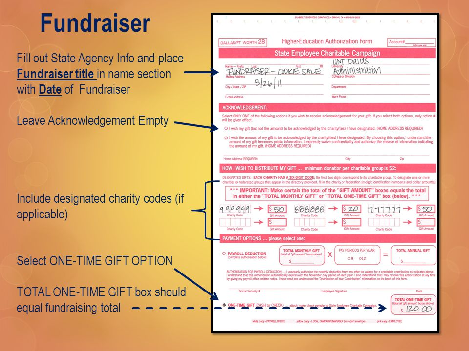 Fundraiser Fill out State Agency Info and place Fundraiser title in name section with Date of Fundraiser Leave Acknowledgement Empty Include designated charity codes (if applicable) Select ONE-TIME GIFT OPTION TOTAL ONE-TIME GIFT box should equal fundraising total