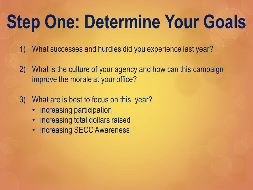 Step One: Determine Your Goals 1)What successes and hurdles did you experience last year.