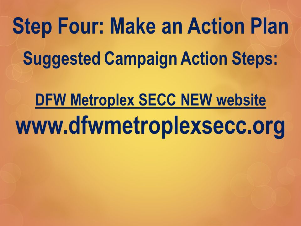 Step Four: Make an Action Plan Suggested Campaign Action Steps: DFW Metroplex SECC NEW website www.dfwmetroplexsecc.org
