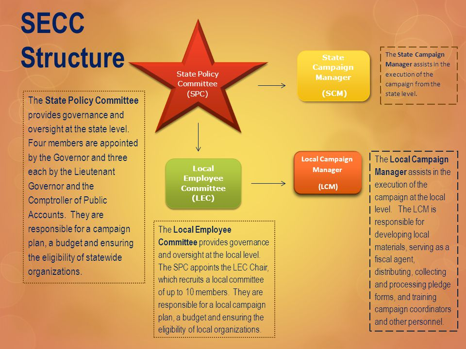 SECC Structure State Policy Committee (SPC) Local Employee Committee (LEC) State Campaign Manager (SCM) State Campaign Manager (SCM) Local Campaign Manager (LCM) Local Campaign Manager (LCM) The State Policy Committee provides governance and oversight at the state level.