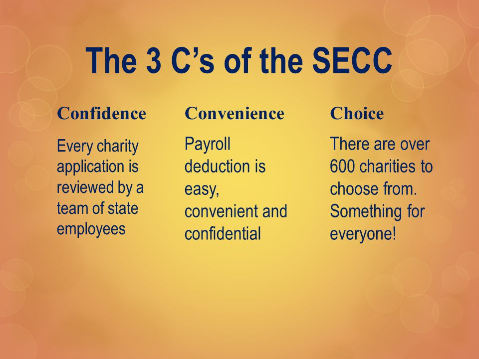 The 3 C's of the SECC ConfidenceConvenience Payroll deduction is easy, convenient and confidential DFW Metroplex SECC Local Employee Committee Members