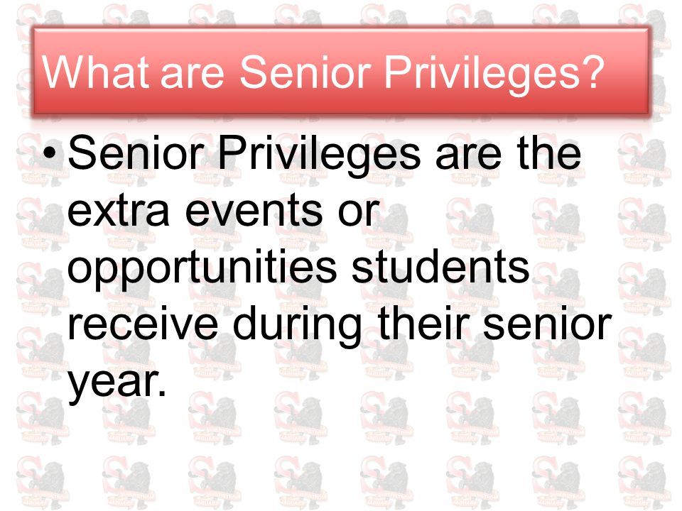 Senior Privileges are the extra events or opportunities students receive during their senior year.