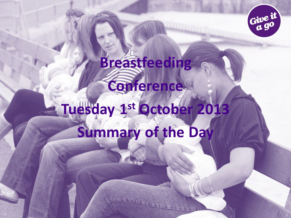Breastfeeding Conference Summary The purpose of the conference: Look at what the evidence is telling us Share good practice Talk about the environment for Breastfeeding Talk Co-create a vision for breastfeeding in Suffolk The Breastfeeding conference was facilitated by Dr.