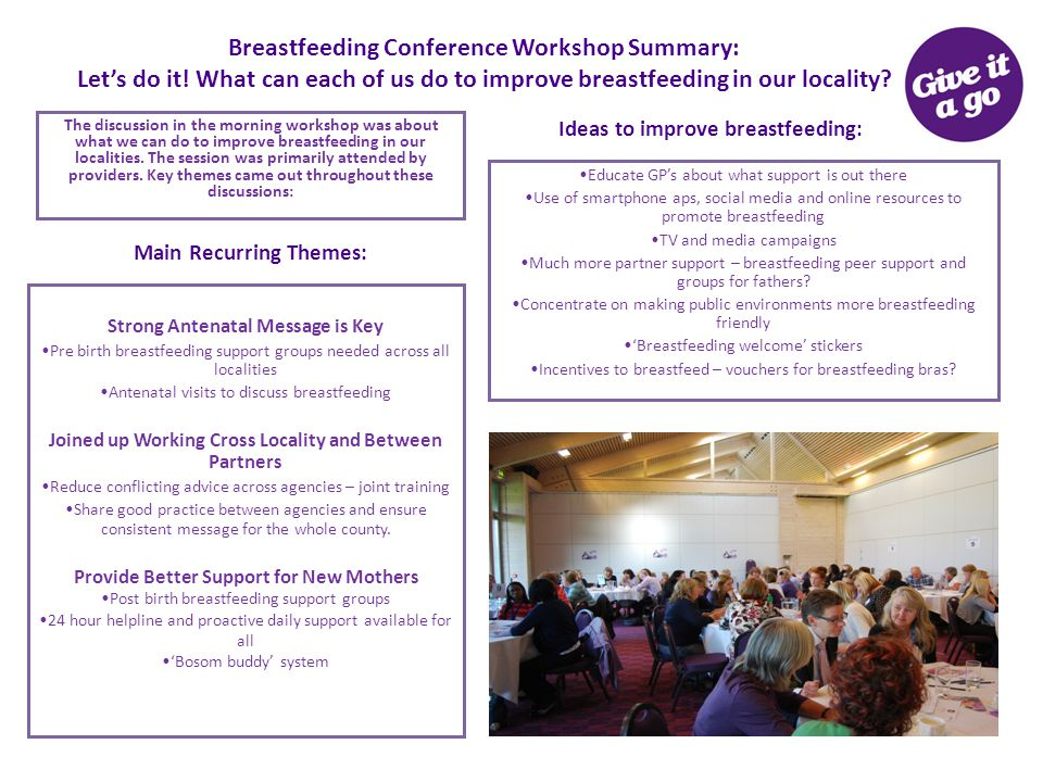 Breastfeeding Conference Workshop Summary: Let's do it! What can each of us do to improve breastfeeding in our locality? The discussion in the morning
