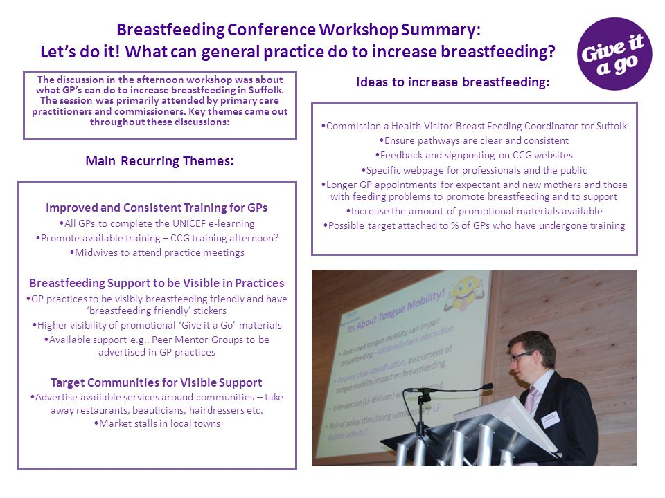 Breastfeeding Conference Workshop Summary: Let's do it! What can general practice do to increase breastfeeding? The discussion in the afternoon worksh