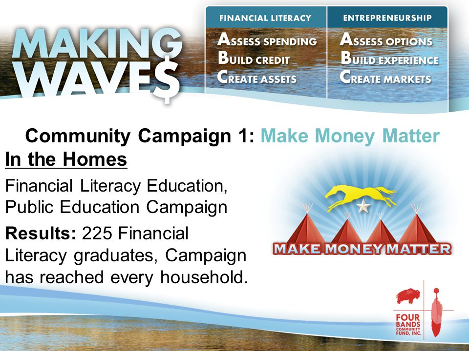 Community Campaign 1: Make Money Matter In the Homes Financial Literacy Education, Public Education Campaign Results: 225 Financial Literacy graduates