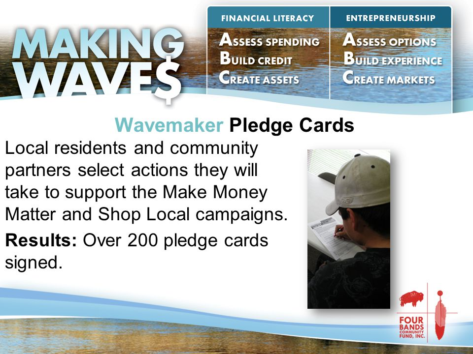 Wavemaker Pledge Cards Local residents and community partners select actions they will take to support the Make Money Matter and Shop Local campaigns.