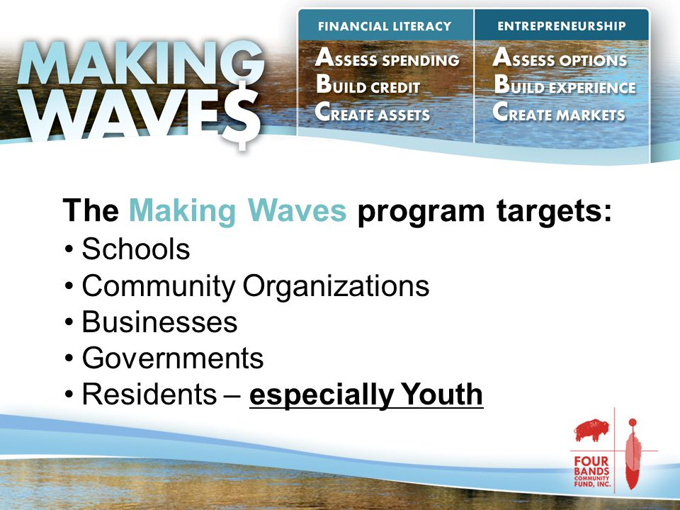 The Making Waves program targets: Schools Community Organizations Businesses Governments Residents – especially Youth