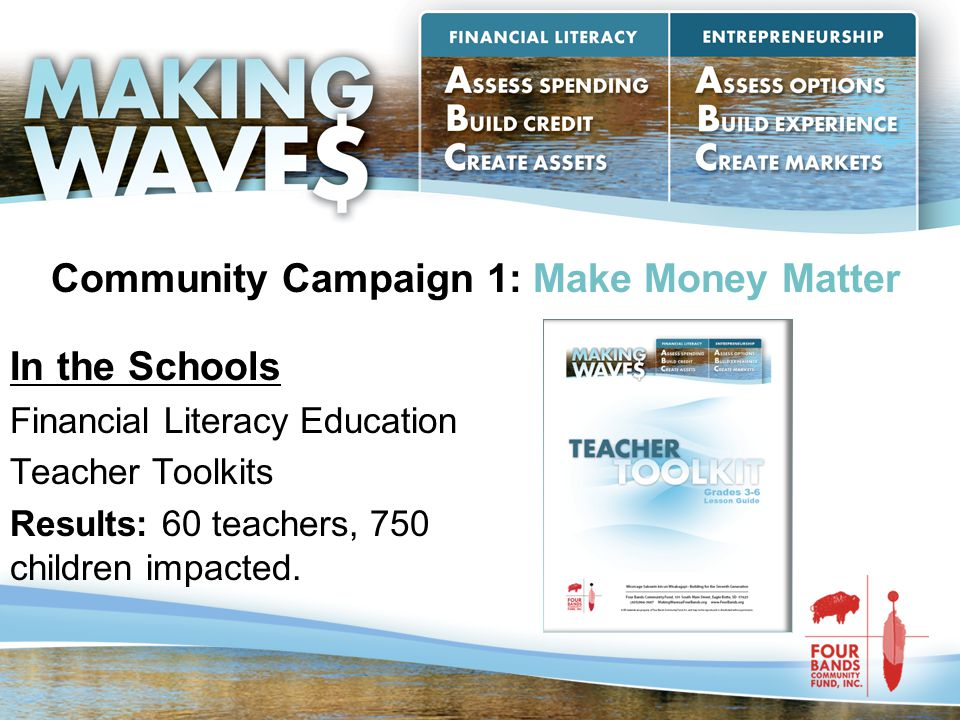 Community Campaign 1: Make Money Matter In the Schools Financial Literacy Education Teacher Toolkits Results: 60 teachers, 750 children impacted.
