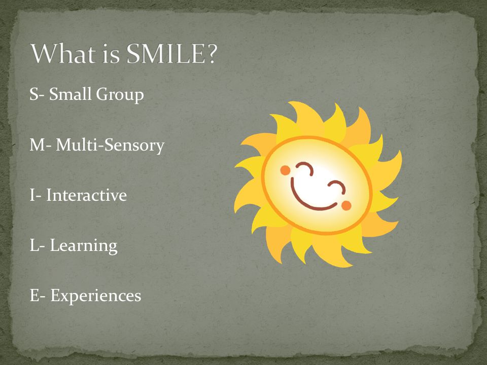 S- Small Group M- Multi-Sensory I- Interactive L- Learning E- Experiences