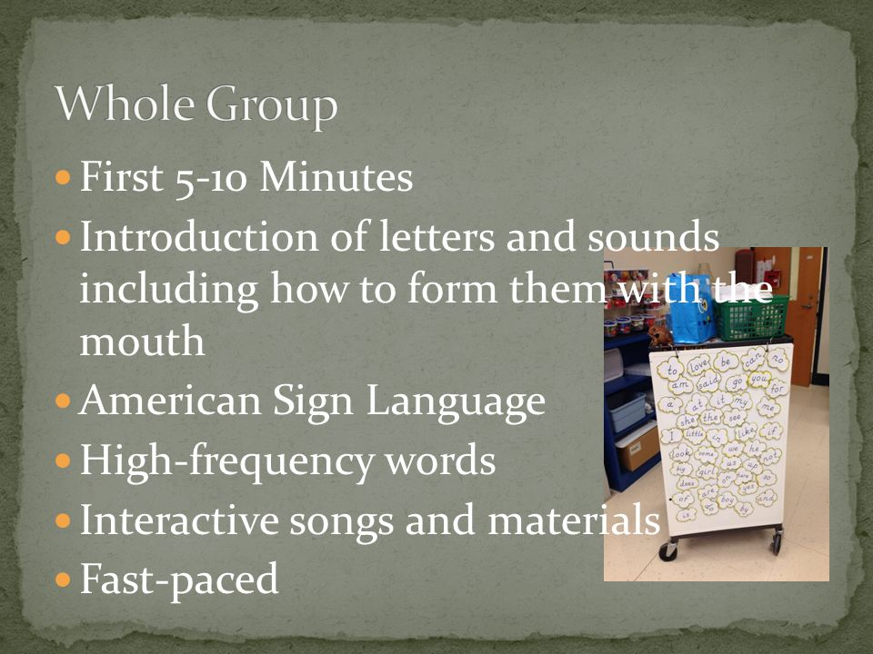 First 5-10 Minutes Introduction of letters and sounds including how to form them with the mouth American Sign Language High-frequency words Interactiv