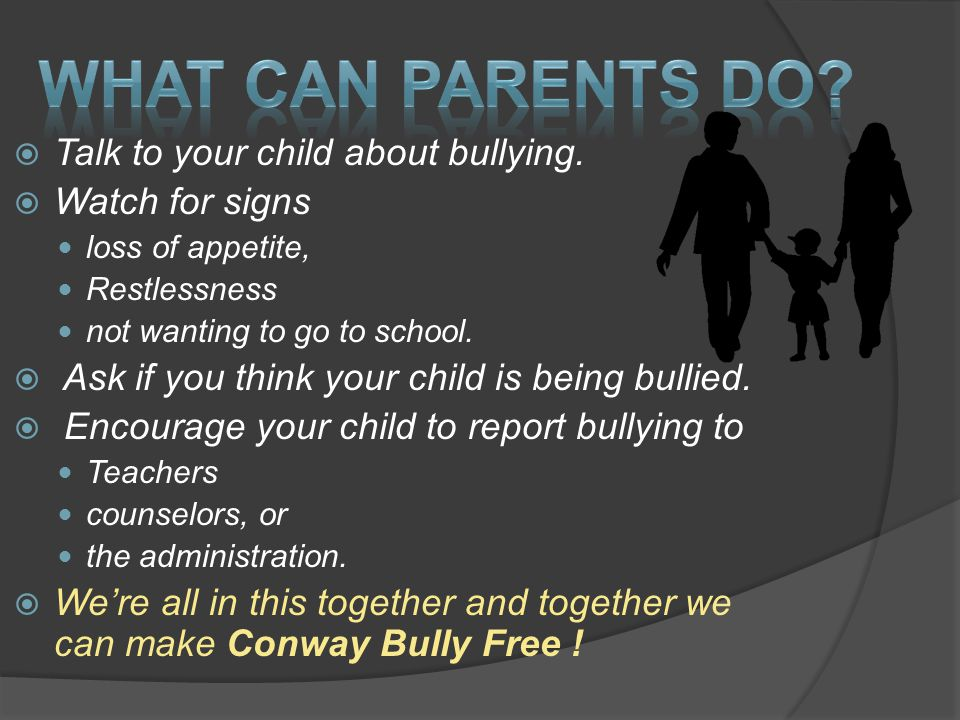  Talk to your child about bullying.