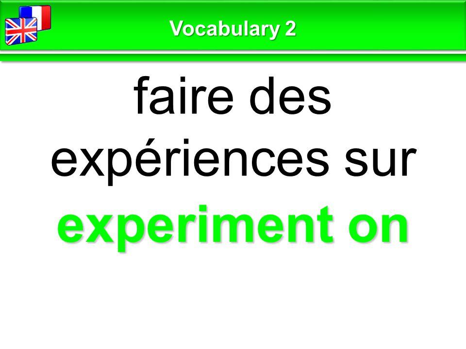 experiment on faire des expériences sur Vocabulary 2