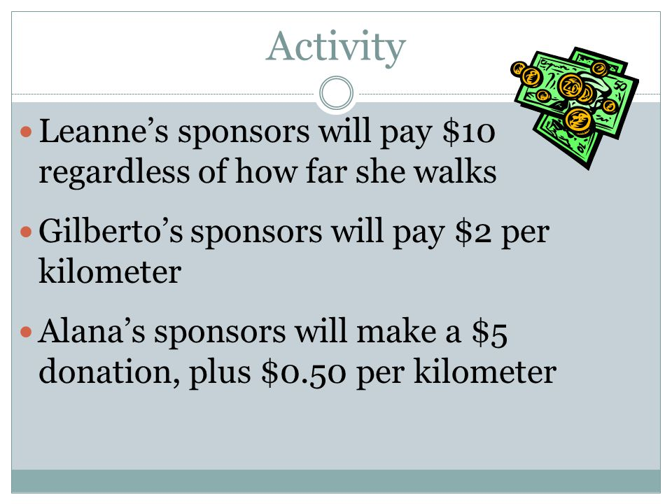 Activity Leanne's sponsors will pay $10 regardless of how far she walks Gilberto's sponsors will pay $2 per kilometer Alana's sponsors will make a $5 donation, plus $0.50 per kilometer