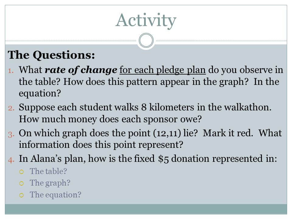 Activity The Questions: 1. What rate of change for each pledge plan do you observe in the table.