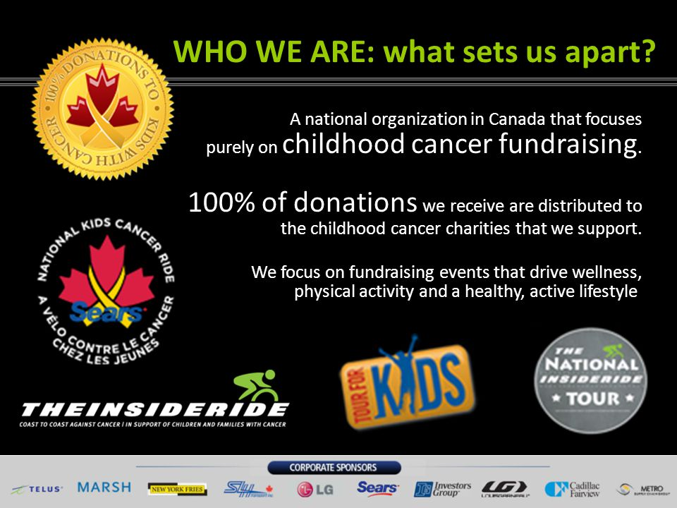 WHY WE DO IT Cancer is the leading cause of non- accidental death in children in Canada.
